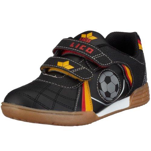 Lico Nikos V Multisport Indoor Schuhe Unisex Kinder, Schwarz/ Rot/ Gold, 29 EU