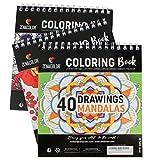 Lote de 3 Libros para Colorear: Animales, Mandalas, Flores - Libro Colorear Adultos con Espirales- Cuaderno de Mandalas Antiestrés - 120 dibujos de Alta Calidad para Colorear