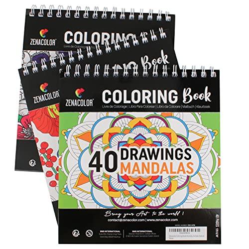 3 Libros para Colorear: Animales, Mandalas, Flores, Libro para Colorear Adultos Antiestrés, 120 dibujos