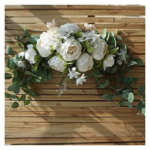 Wangweiming Künstliche Kranz Türschwelle Blume DIY Hochzeit Home Wohnzimmer Party Anhänger Wanddekor Weihnachten Girlande Geschenk Rose WWM (Color : 75cm White)