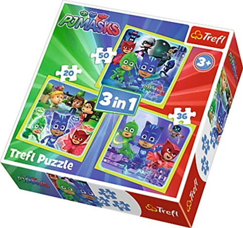 Trefl - Puzzle 3 en 1 modelo PJ Masks 20-36-50 piezas, 34840, multicolor , color/modelo surtido