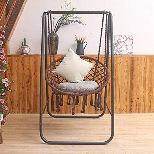Dirgee Silla Mecedora del hogar Swing Colgando Cestas para niños Soporte para niños (Color: Azul) (Color : Brown)