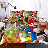 Qunqun Nuevo Juego de Funda nórdica 3D Super Mario Bros. Juego de Cama Divertido para niño, niña, niño, Cama King Size, Cubierta de Cama, Cama, Cama (E,140x210cm)