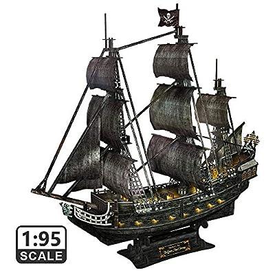 CubicFun Puzzle 3D Maquette de Bateau de Bateau Pirate et kit de Bateau Vengeance de la Reine Anne (lumières LED) Cadeau de Construction pour Adultes et Enfants, 340 pièces