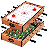 GYMAX 2-In-1 Combo Game Table Set, Wooden Football & Air Hockey Tabletop Game with Scorer, Indoor Activities Ball Game for Kids and Adults