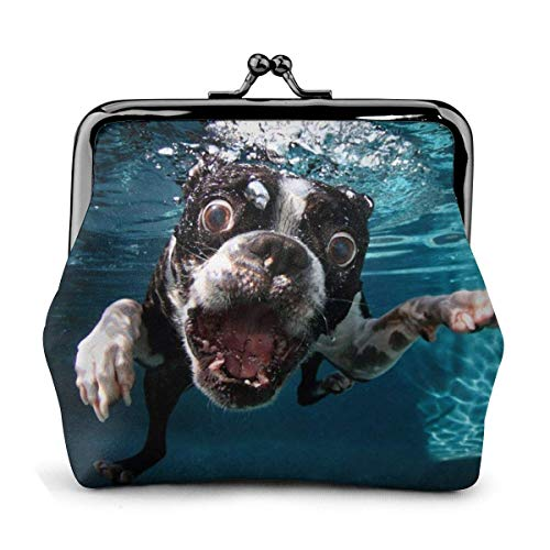 Boston Terrier Underwater Dog Pu Leather Exquisite Buckle Coin Purses Vintage Pouch Classic Lock Change Purse Wallet.