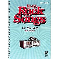 Chants de rock cultes des années 70 - 30 classiques, arrangés pour piano - Eagles, Elton John, Rod Stewart, Supertramp, etc. - Notes de piano avec pince à partitions colorée en forme de cœur.