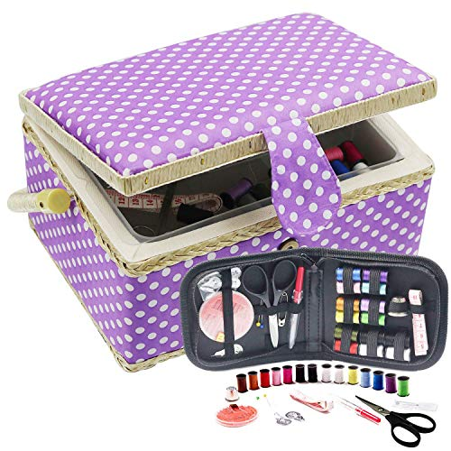 Best Price! D&D Sewing Basket with Sewing Kit, Sewing Box Organizer with Accessories, Sewing Supplies Storage with Sewing Tools Set (Purple, Medium)