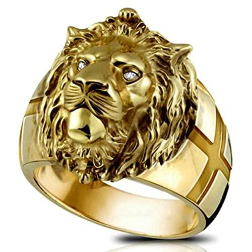 Anillo de cabeza de león dorado de acero inoxidable Cool Boy Band Anillo de león de fiesta Anillo de hombre dominante Anillo Unisex Jewelry-13, GD