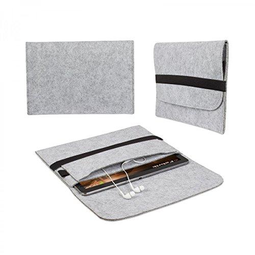 eFabrik Filz Tasche für Odys Wintab 9 Plus 3G Tablet Schutz Hülle Hülle Cover Sleeve Folio Schutzhülle Schutztasche grau
