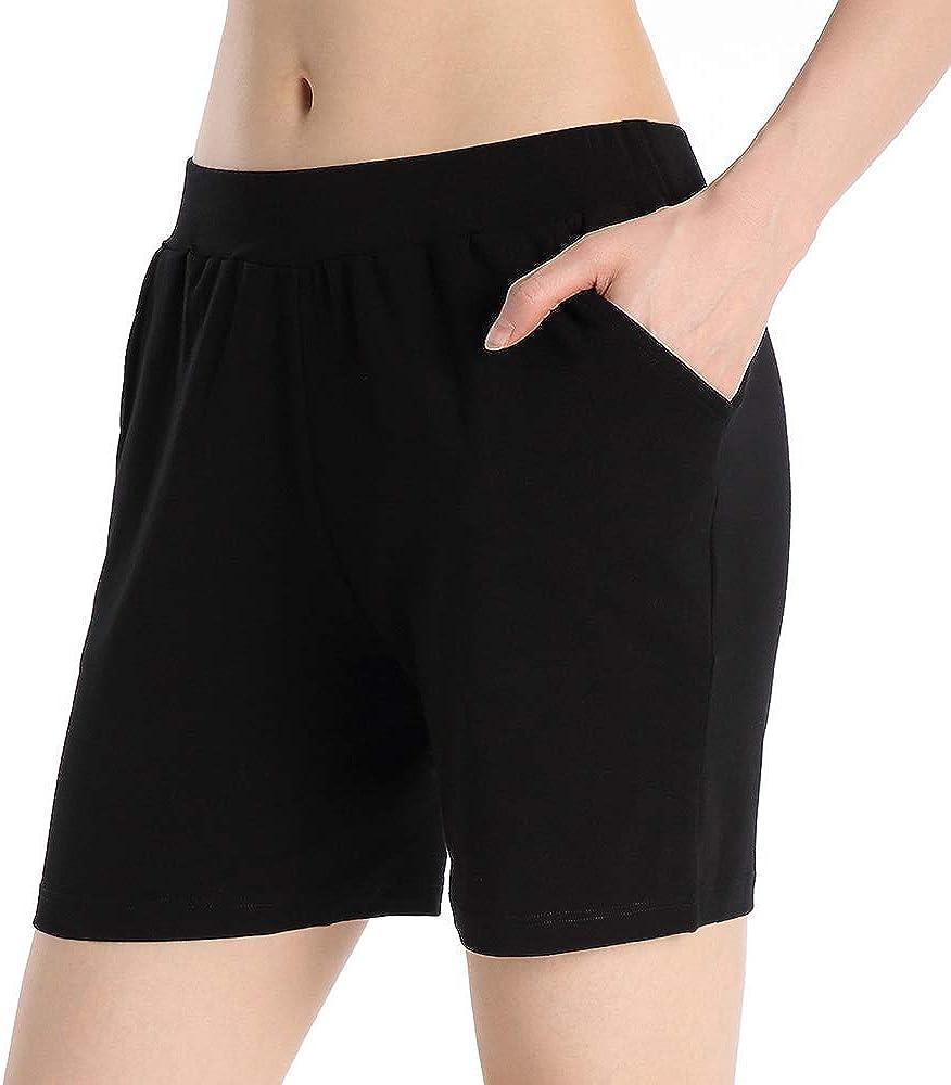 QingWan Womens Shorts with Pockets Elastic Waist Spandex Gym Athletic Short Pants Yoga