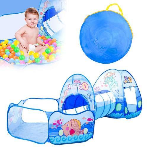 Createjia Kinder-Spielzelt mit Tunnel, 3-in-1-Zelt für Kinder, Spielzelt Cartoon-Baby, Krabbeltunnel, Spielhaus mit Basketballkorb für drinnen und draußen, für Kinder und Babys
