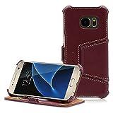 Manna Handy Smartphone Hülle, kompatibel mit Samsung Galaxy S7, Lederhülle Tasche, Nappaleder Leder, Hülle Cover für SM-G930F, Etui Standfunktion, braun