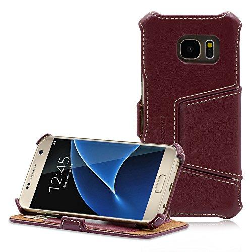 Manna Custodia Galaxy S7 Cover Protettivo per Samsung Galaxy S7 in Vera Pelle Nappa Rosso Vinaccia con Funzione EasyStand