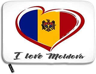 Randell Decorative Felt Floor Mat with Non-Skid Backing Love Moldova Emblem Colored Independence Day of Estonia red Heart on National Flag Doormat Entrance Floor Mat Rug Fit for Home Indoo