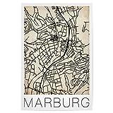 artboxONE Poster 75x50 cm Städte Retro Map Marburg Germany