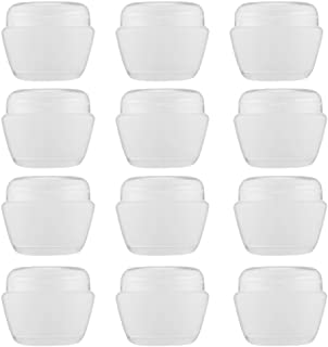 LONGWAY 1 Oz (30ML) Mini Plastic Jars with Lids and Inner Liners   Empty Lotion Containers/Travel Cream Containers - for Sugar Scrub, Cosmetic Jars & BPA Free (Pack of 12, Transparent)