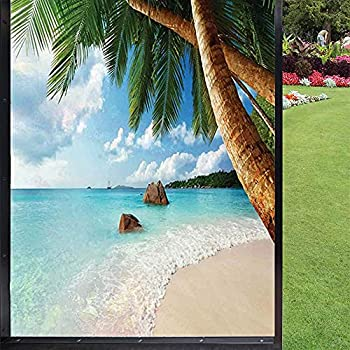 Beach Window Film Privacy Window Film,Green Palm Trees Clear Blue Water Sandy Exotic Seashore Rocks and Hills in Distance Privacy Window for Home Kitchen Office,Multicolor 24  x 36