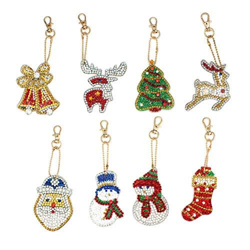 Phayee Kerstmis DIY Diamond Key Chain, 5D DIY diamant schilderij sleutelhanger hanger, Diamond Painting, verjaardagscadeau voor kinderen, 8-delig / set