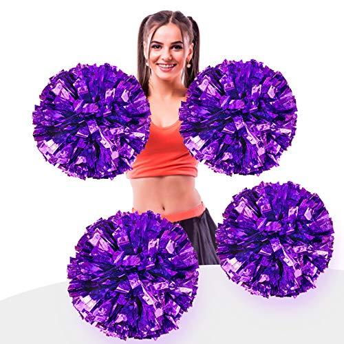 AUHOTA 4 Stück Metallfolie Cheerleading Pom Poms, Cheerleader Pompons Handblumen zum Sport Cheers Ball Dance Kostüm Nacht Party Team Spirit (6 Zoll) (Lila)
