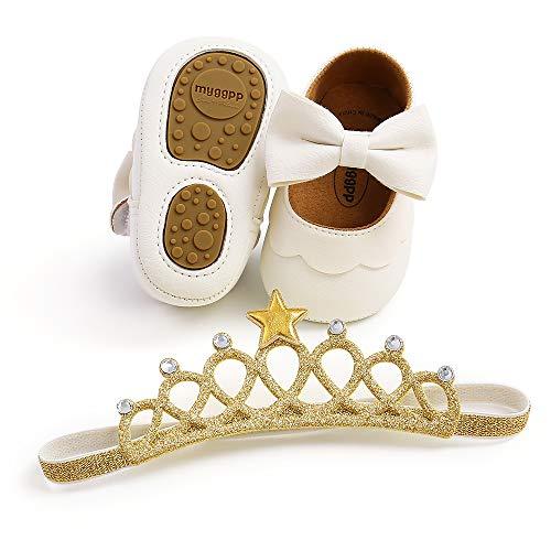 Sapatos infantis para bebês meninas sola macia princesa Mary Jane sapatos pré-andadores vestido de casamento sapatos para berço, M1954b White, 12-18 Months Infant