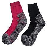 Gesundheitsstrumpf 3 Paar Kindersocken Funktionssocken Wandersocken Outdoor Trekkingsocken Baumwolle Socken (35-38, Pink+Blau)