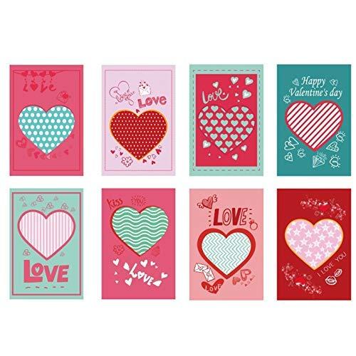 Lucaso グリーティングカード ロマンチック バレンタインデー ハート型 封筒付き 告白 LOVE ウェディング・アニバーサリー・ガールフレンドへのグリーティングカード バレンタインギフト 8枚入り 1652