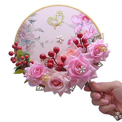 HJSM Brautstrauß Hochzeit Hochzeitsstrauß Bouquets Crystal Pearl Brautjungfer Hochzeitsstrauß Braut Kunstseidenblumen Brautstrauß Künstlich Sträuße Hochzeit Valentinstagsgeschenk,Rosa