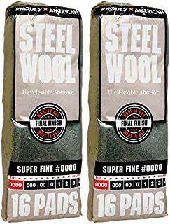 Rhodes American Super Fine Grade #0000 Steel Wool, 16 Pads (Pack of 2, 32 Pads Total), Use for Cleaning, Polishing, Buffing, Refinishing, Gentle Abrasiveness