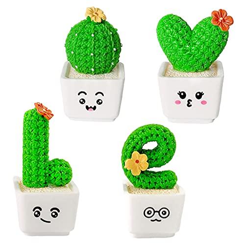 Amuzocity 4 Piezas de Plantas de Cactus en Maceta Blanca, Juguete de Decoración de Escritorio de Imitación de Suculentas - Small