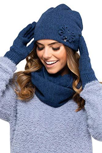Kamea - set invernale Kansas - cappello/berretto con sciarpa ad anello abbinata - selezione di colori diversi, inverno set:Dark Blue