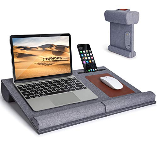 Foldable Lap Desk - Laptop Lap Desk with Detachable Wrist Pad, Mouse Pad & Phone Holder, Portable Laptop Desk for Bed, Car or Sofia