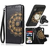 iPhone XR Case, iPhone XR Wallet Case with Detachable Slim Case, Card Solts Holder, Fit Car Mount,CASEOWL Mandala Flower Floral Embossed Vegan Leather Flip Lanyard Wallet Case for iPhone XR-Black