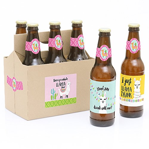 Whole Llama Fun - Llama Fiesta Baby Shower or Birthday Party Decorations for Women and Men - 6 Beer Bottle Label Stickers and 1 Carrier