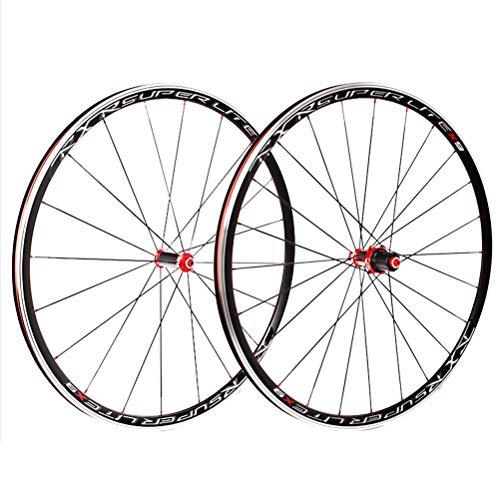 ZNND Juego de ruedas para bicicleta de carretera 700 c con doble pared, bujes de fibra de carbono, rodamientos sellados, freno V, QR, 7 – 11 velocidades, 5 palin cassette volante