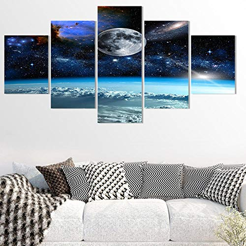 Hd Print 5 Pieces Canvas Art Space Universe Moon Stars Painting Modular Canvas Home Decor Poster for Living Room-with Frame