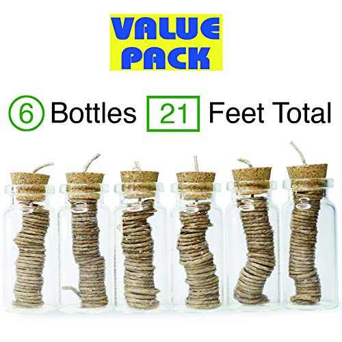 6 Pack Hemp Wick Holder Bottle Dispensers Total 21ft - 3.5ft per Bottle - Borosilicate Glass Bottles - Organic Hemp Wick Natural Beeswax Coated, 1mm Size Slow Burn No Dripping