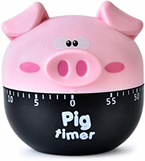 Cute Cartoon Pig Timers 60 Minutes Mechanical Timers Kitchen Cooking Timer Clock Loud Alarm Counters Manual Timer (Pink)