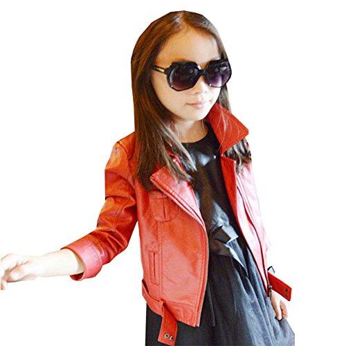 LSERVER Enfant Filles Blouson en Simili Cuir Vest Automne Manteau Jackets, Rouge, 7-8 ans/130