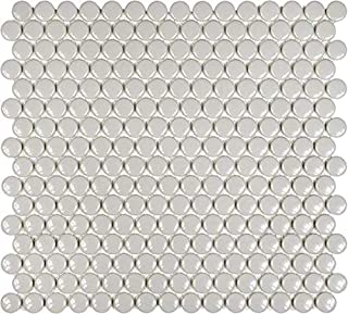 10 Sq Ft Box - 3/4 Inch Gray Glazed Porcelain Penny Round Mosaic Tiles