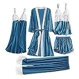 Pijamas Mujer Camisón 5 Piezas De Ropa De Dormir Sexy para Mujer, Camisola De Encaje Satinado, Pantalones Cortos, Camisón, Bata, Pijama, Lencería, Vestido De Seda, Chemise De Nuit Femme 3XL Azul