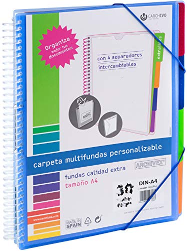 Carchivo - Carpeta Archivex personalizable de 40 fundas con separadores intercambiables, color azul