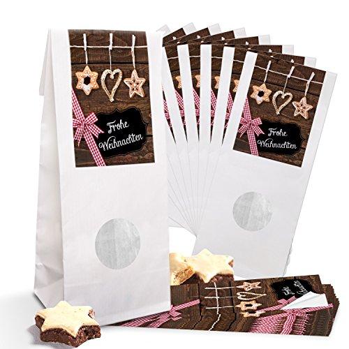 10 kleine witte papieren zakken kerstzakken voor gebak MET venster pergamijn inleg (7 x 4 x 21,5 cm) + 10 stroversieringen rood bruin zwart kerststickers 5 x 15 cm Vrolijk Kerstmis