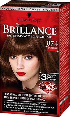 Brillance Intensiv-Color-Creme 874 Samtbraun, 3er Pack (3 x 143 ml)