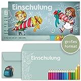 beriluDesign Einschulung Einladungskarten mit Umschlägen (12er Set) zum Schulanfang   Liebevoll gestaltete Einladungen für Kinder zum Schulbeginn