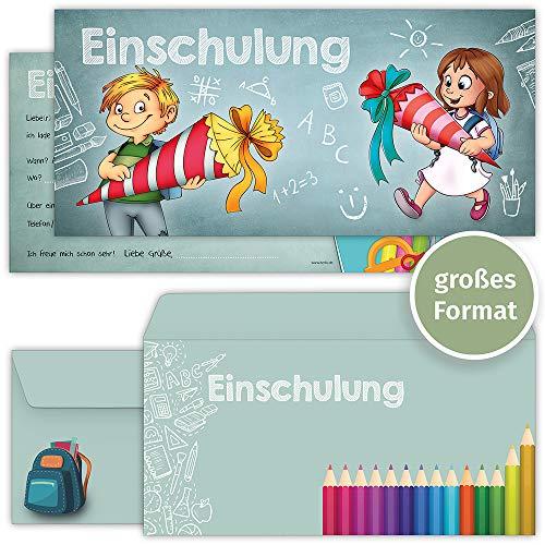beriluDesign Einschulung Einladungskarten mit Umschlägen (12er Set) zum Schulanfang | Liebevoll gestaltete Einladungen für Kinder zum Schulbeginn