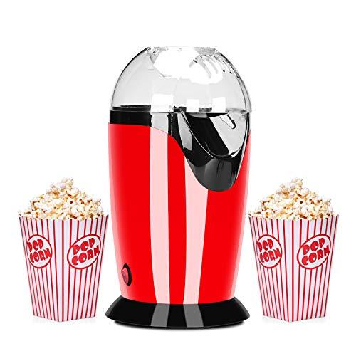 Podazz La Machine à pop-corn électrique-1200 watts peut Faire de Délicieux pop-corn en 3 Minutes, avec une Cuillère Doseuse de 60 g et un Couvercle Amovible, Ménage (rouge)