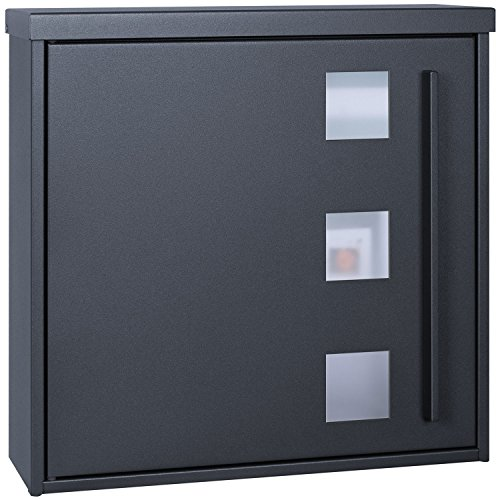 Design-Briefkasten anthrazit-grau (RAL 7016) MOCAVI Box 103W Postkasten mit Sichtfenster modern, groß, hochwertig, deutsche Markenqualität