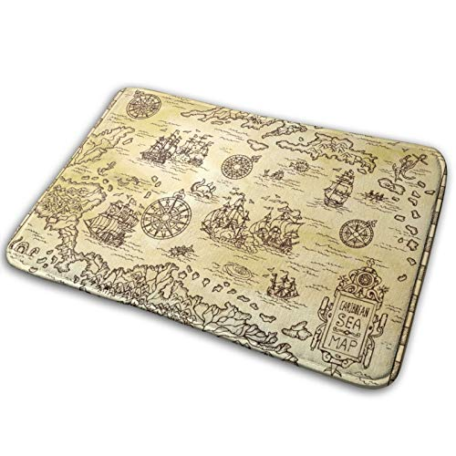 RUBEITA Microfiber Bath Mat Rug,Ancient Pirate Map Of The Caribbean Sea With Ships,Bathroom Rugs Carpet Non Slip,29.5' X 17.5'