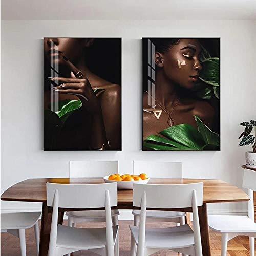 N / A Póster e impresión de Lienzo de señora Bonita Abstracta para Dormitorio Tienda de Belleza Maquillaje de Moda Arte de Pared para Mujeres nórdicas sin marco-50x70cmX2